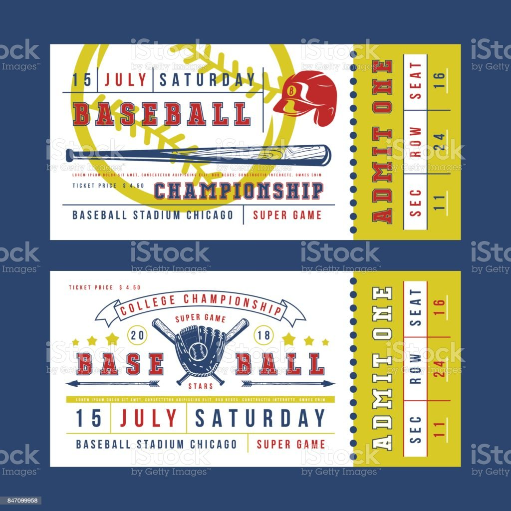 Template for vintage baseball ticket