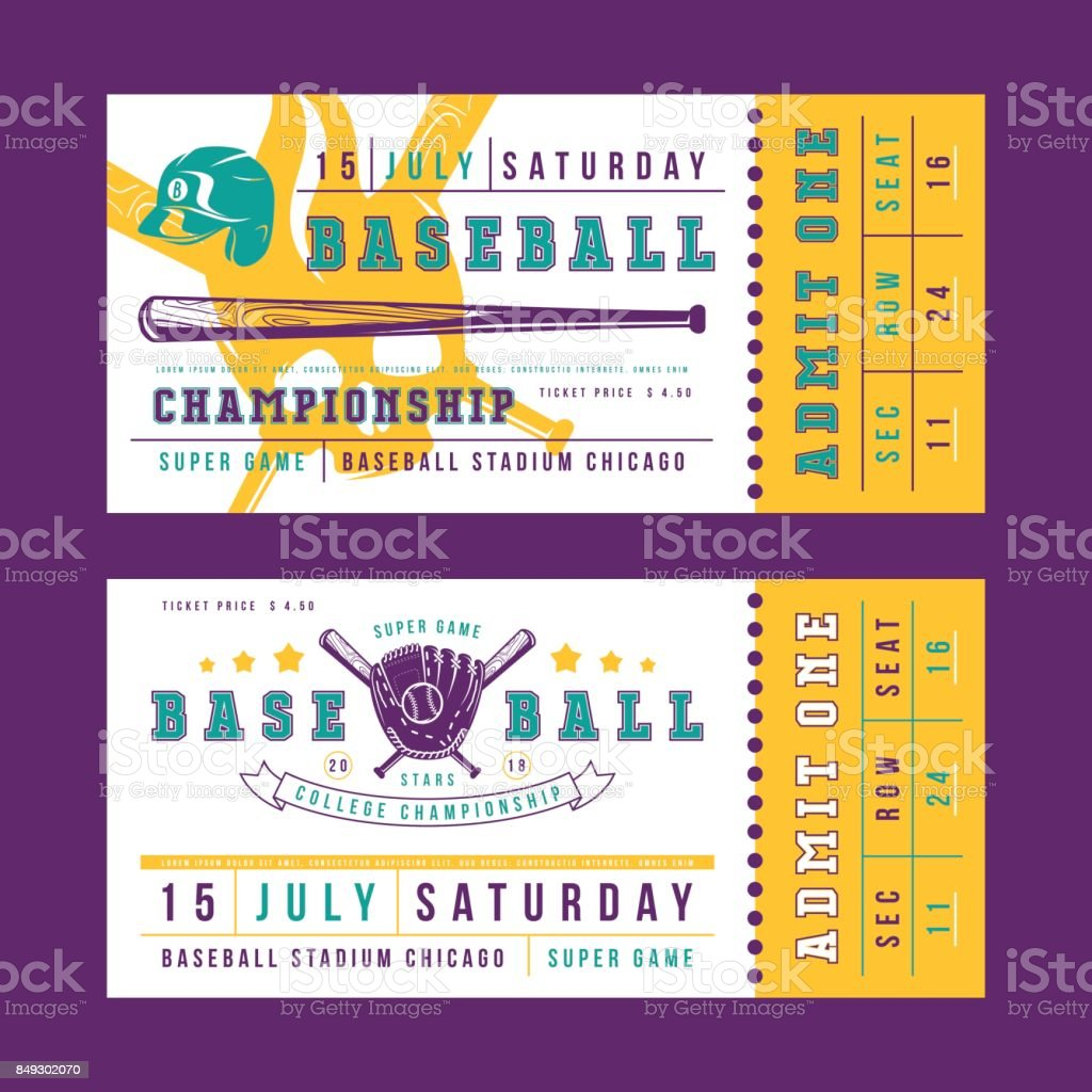 Template for vintage baseball ticket vector art illustration