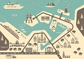 Template for vintage tourist map of resort city.