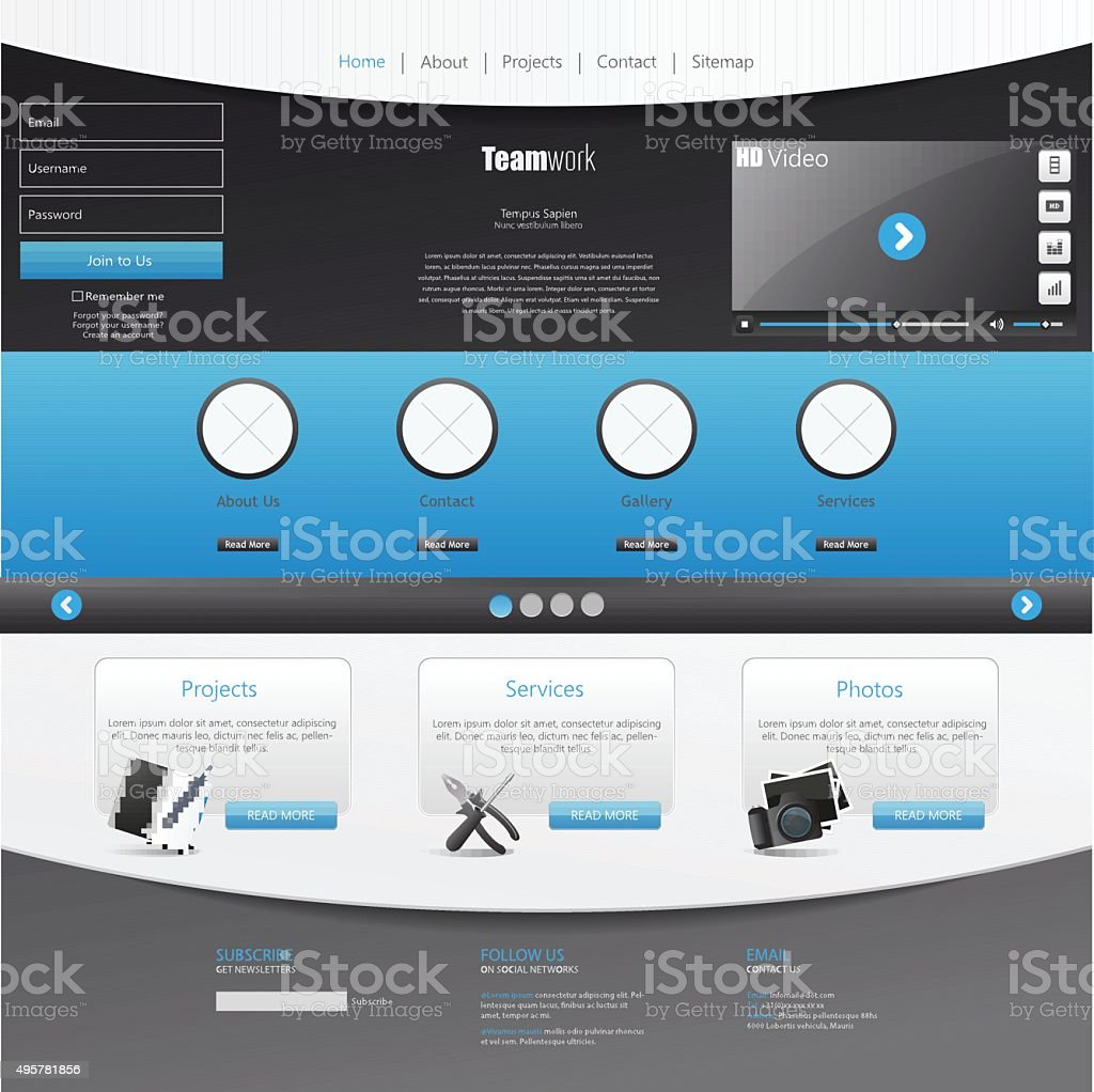 Template For Website Eps10 Vector With Video Player Stock Vector Art