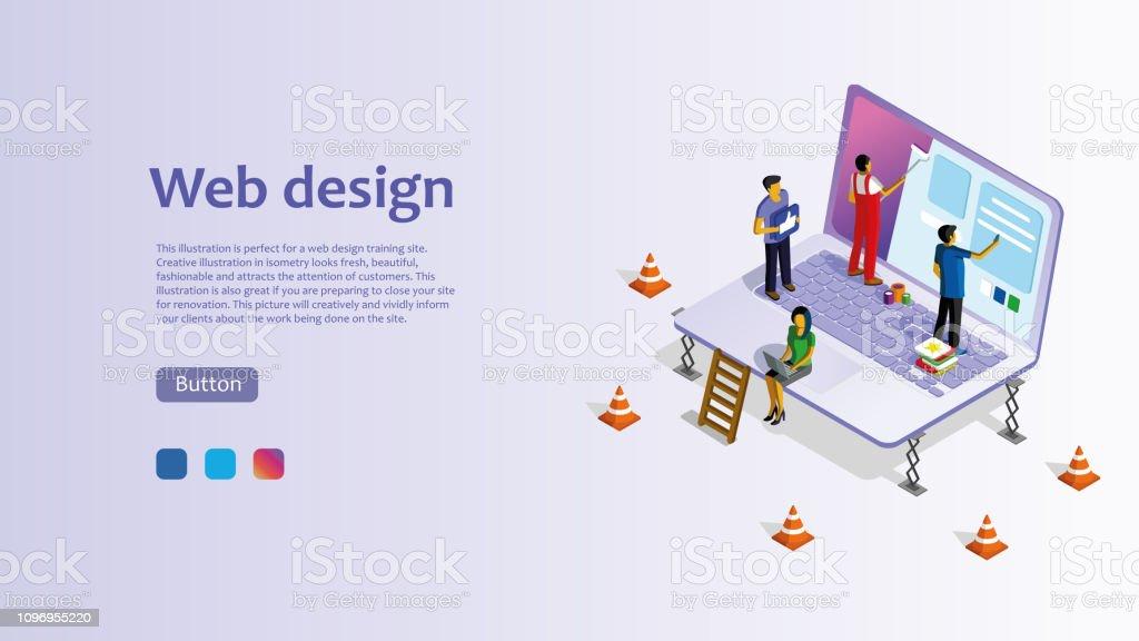 Template For Website For Web Design Isometric Illustration