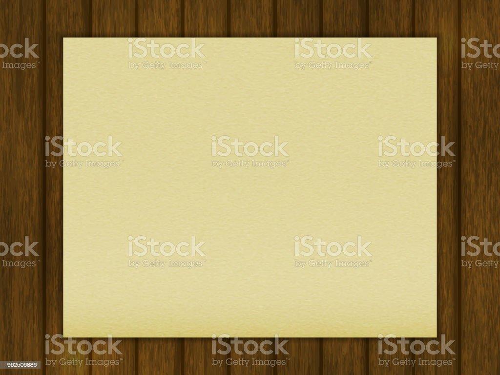 modelo para seu projeto. uma folha de papel em uma mesa de madeira em branco. estilo realístico. ilustração em vetor. - Vetor de Design royalty-free