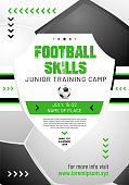 Template for your football or soccer design with sample text in separate layer- vector illustration
