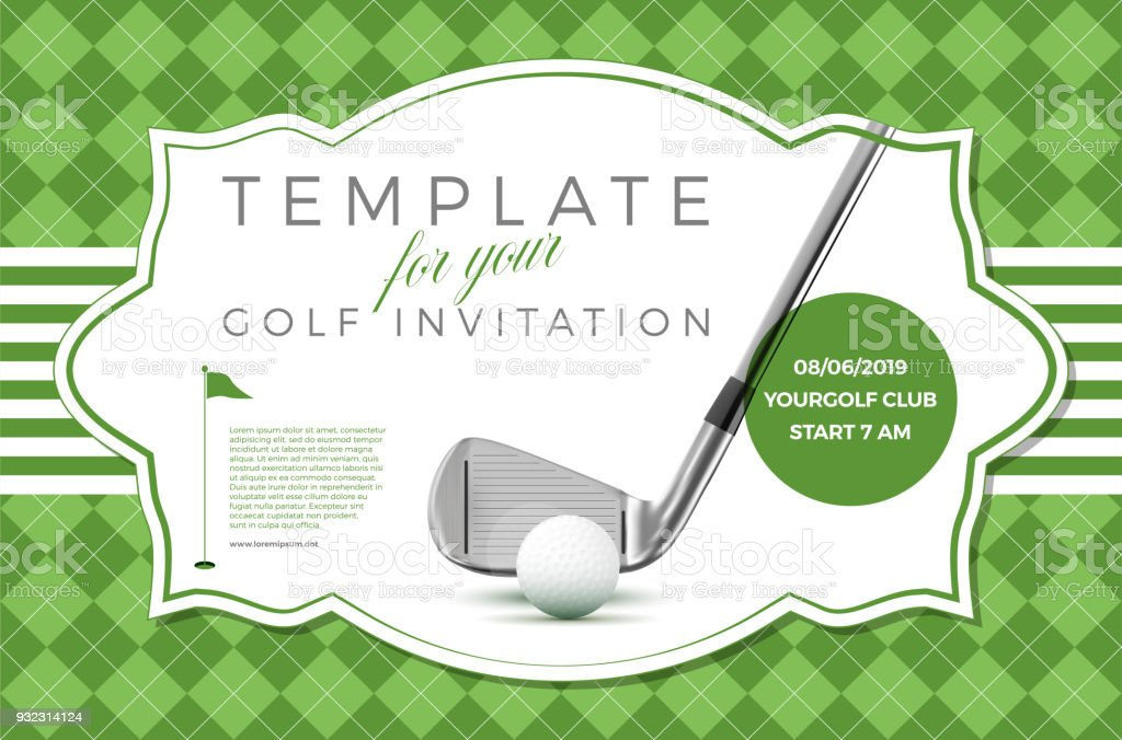 Template For Your Golf Invitation With Sample Text Stock