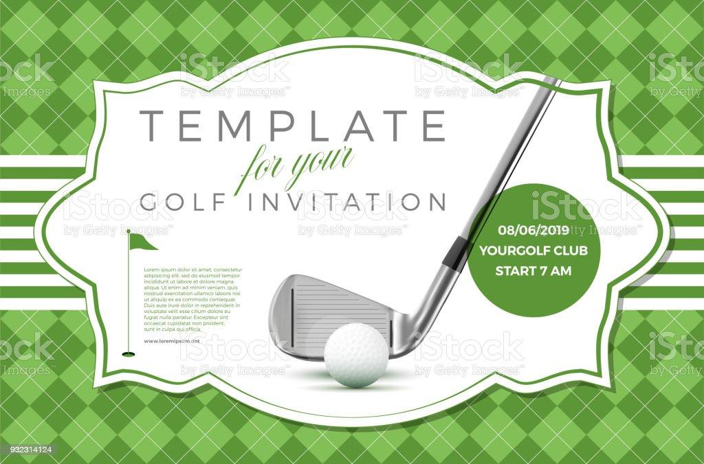 Plantilla para tu invitación de golf con texto de ejemplo - ilustración de arte vectorial