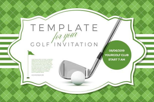 ゴルフ招待状サンプル テキスト付きのテンプレート - ゴルフ点のイラスト素材/クリップアート素材/マンガ素材/アイコン素材
