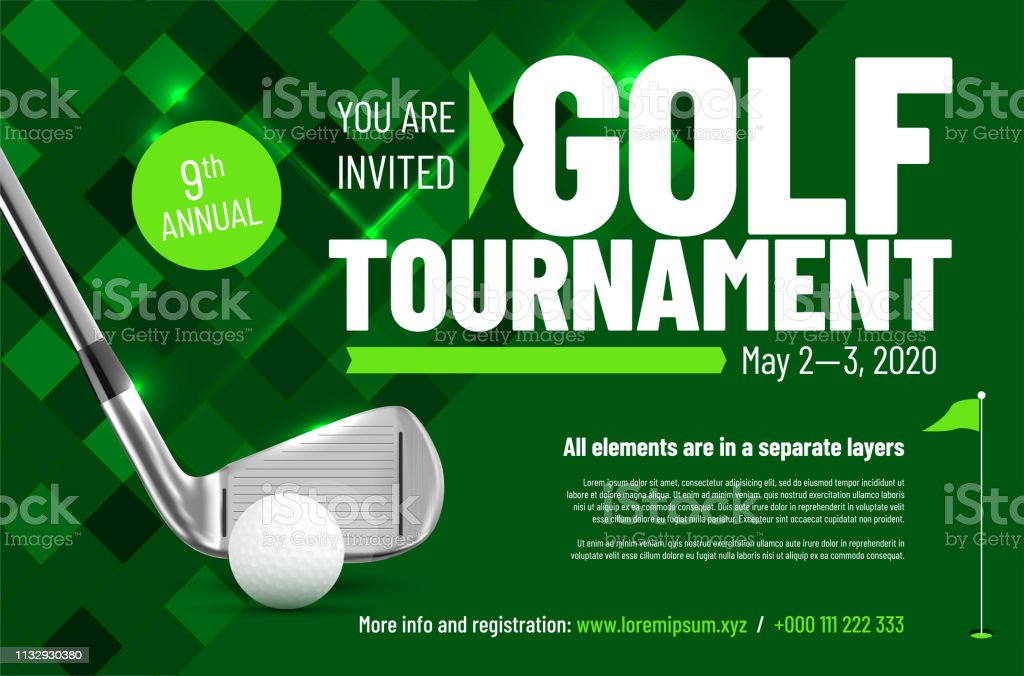 Template for your golf tournament invitation with sample text royalty-free template for your golf tournament invitation with sample text stock illustration - download image now