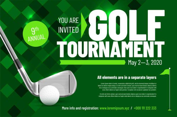 ilustrações de stock, clip art, desenhos animados e ícones de template for your golf tournament invitation with sample text - golf
