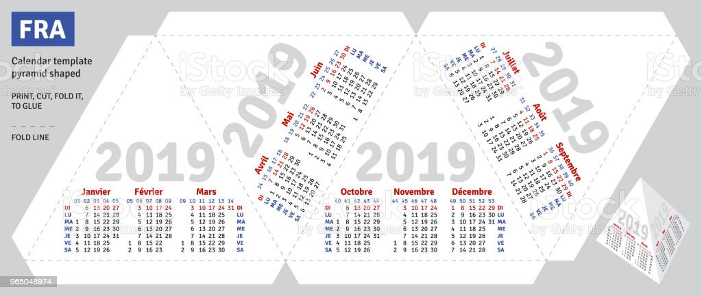 Template French Calendar 2019 Pyramid Shaped Stock Vector Art More