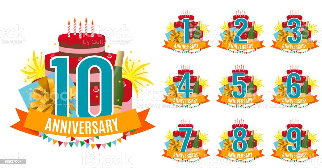 Sjabloon Van 1 Tot 10 Jaar Verjaardag Gefeliciteerd Wenskaart Met