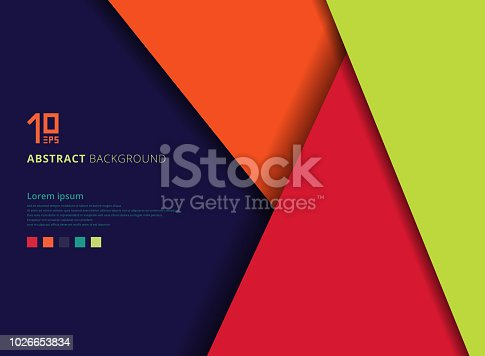 Template geometric colorful overlap layer on blue background with space for text. Vector illustration