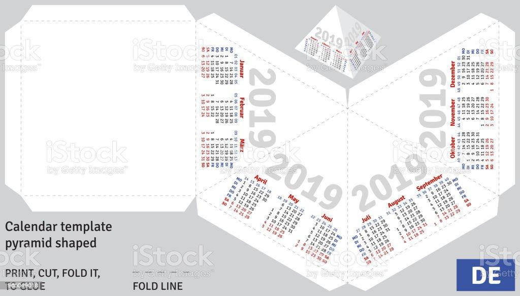 Template german calendar 2019 pyramid shaped royalty-free template german calendar 2019 pyramid shaped stock vector art & more images of advertisement