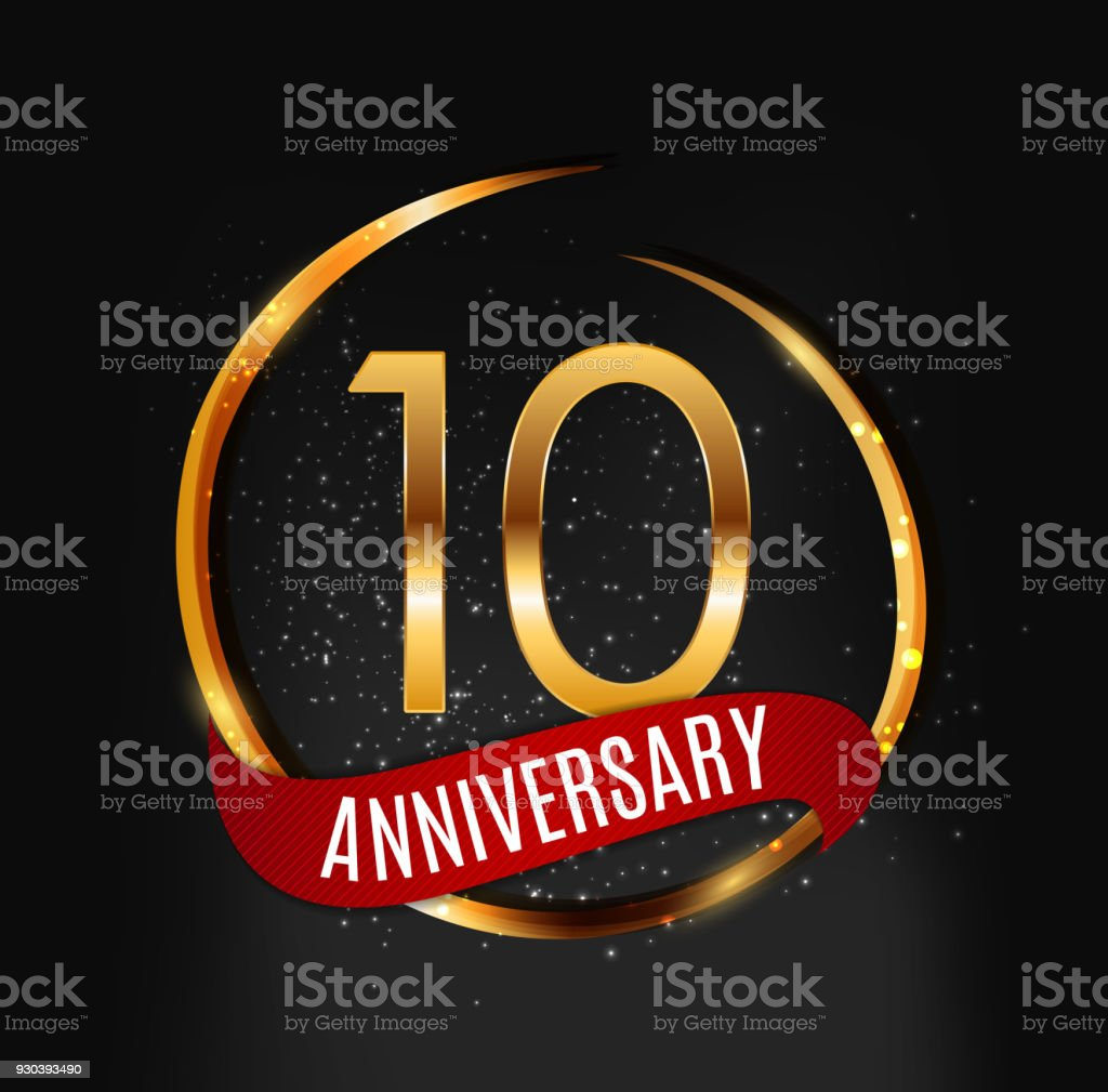Template Gold Symbol 10 Years Anniversary With Red Ribbon Vector