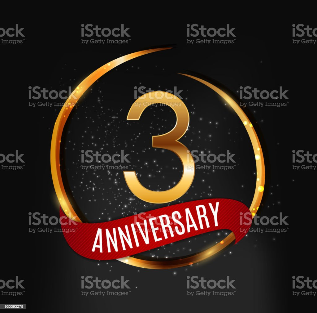template gold symbol 3 years anniversary with red ribbon vector