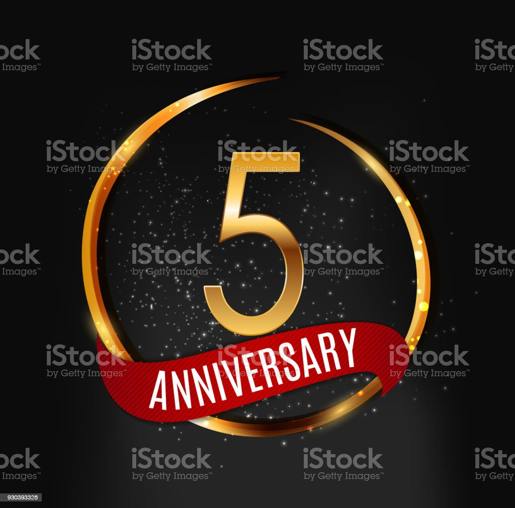 Template Gold Symbol 5 Years Anniversary With Red Ribbon Vector