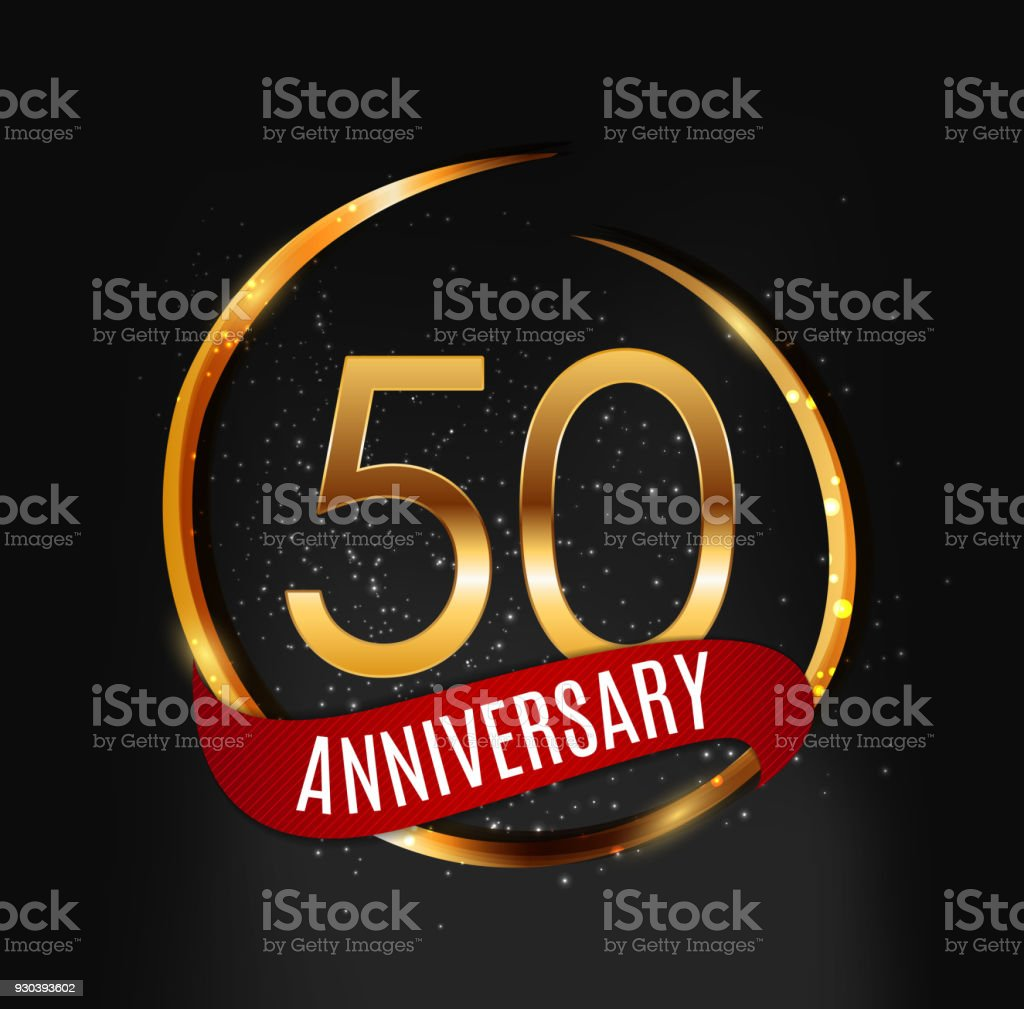 Template gold symbol 50 years anniversary with red ribbon vector template gold symbol 50 years anniversary with red ribbon vector illustration royalty free template gold buycottarizona Choice Image