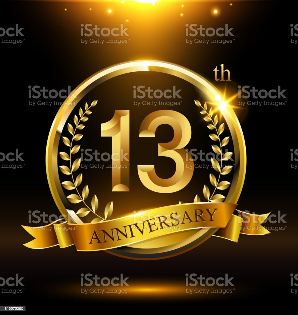 Template golden 13th icon anniversary with ring and laurel branches on dark background vector art illustration