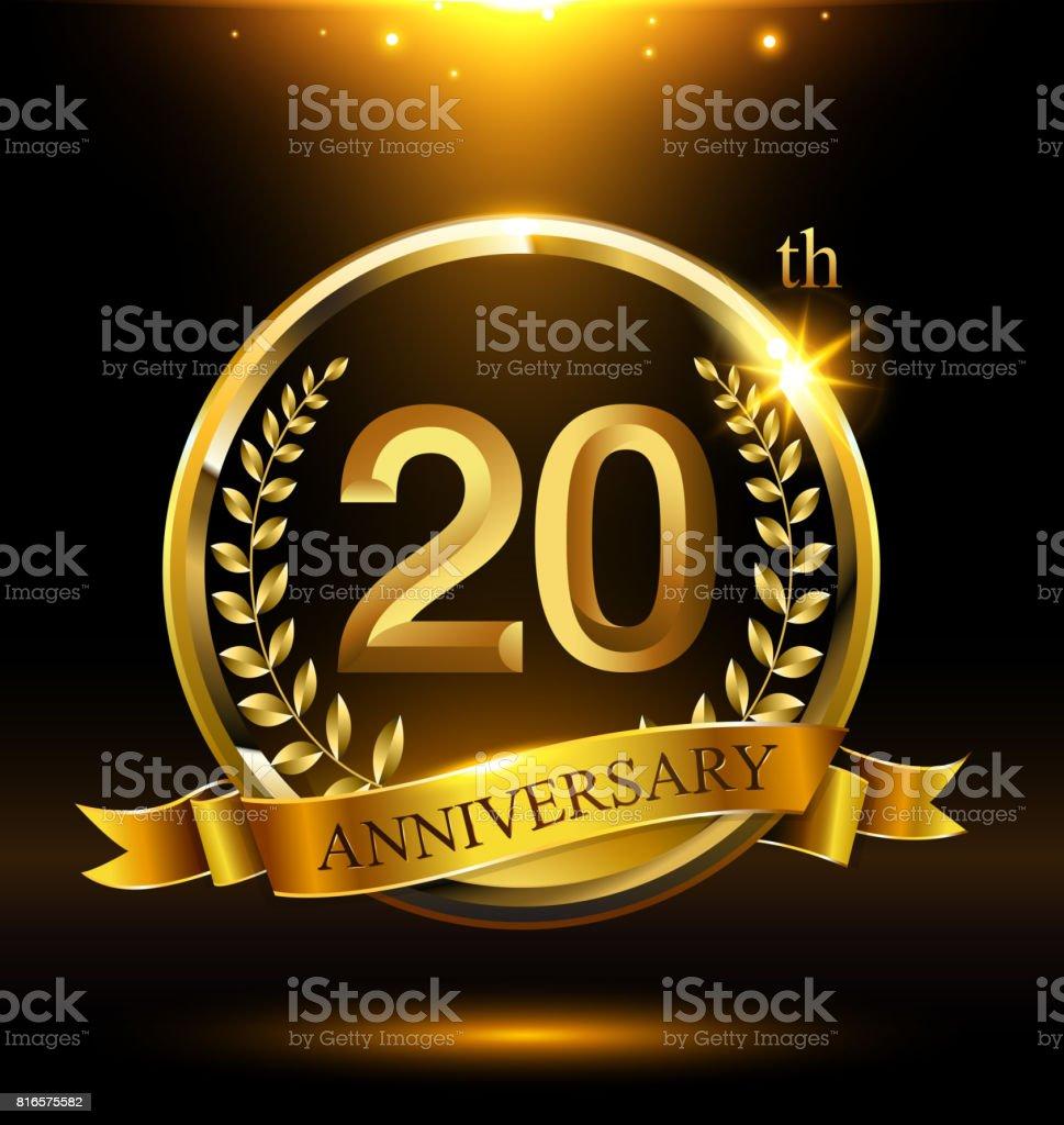 Vorlage goldene 20. Symbol Jubiläum mit Ring und Laurel Zweige auf dunklem Hintergrund – Vektorgrafik