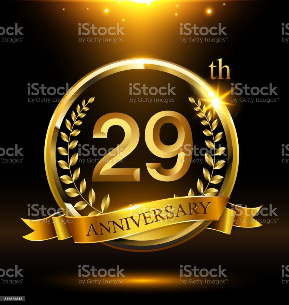 Template golden 29th icon anniversary with ring and laurel branches on dark background vector art illustration