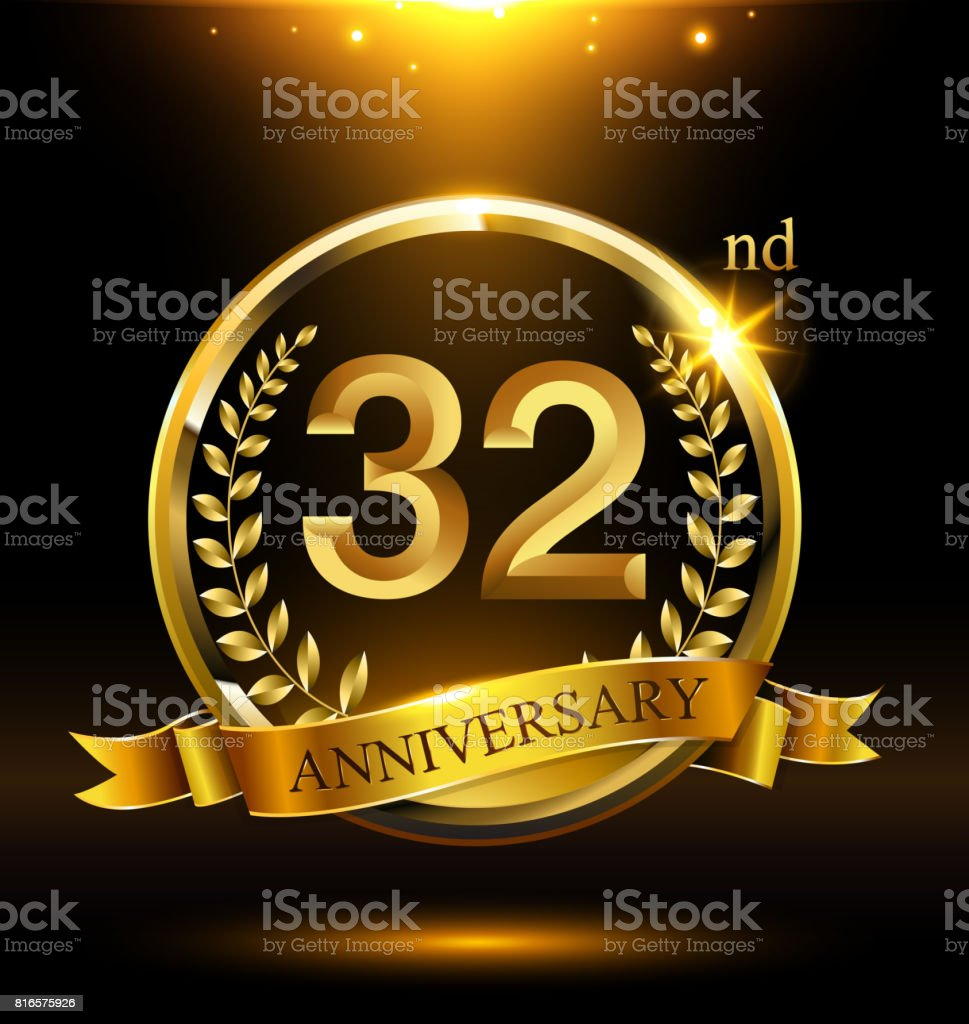 Template golden 32nd icon anniversary with ring and laurel branches on dark background vector art illustration