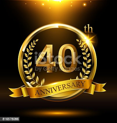 istock Template golden 40th icon anniversary with ring and laurel branches on dark background 816578086