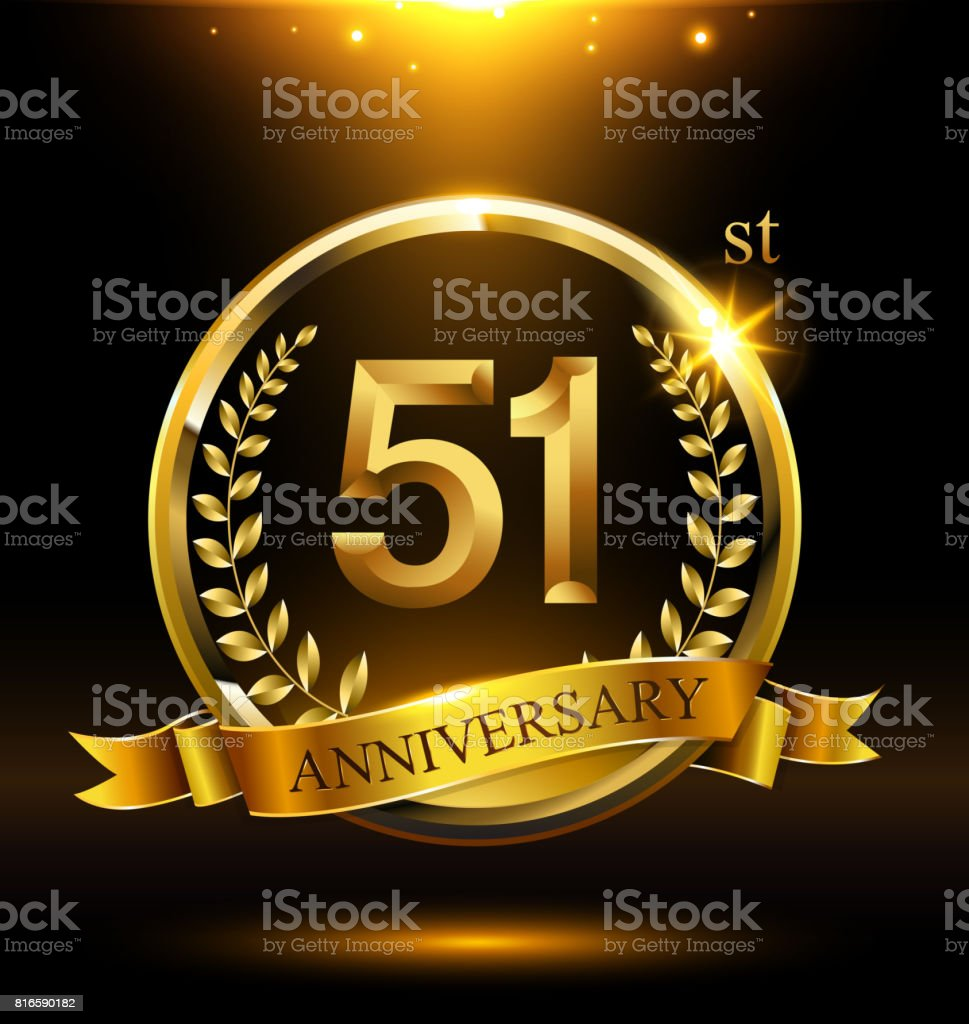 Template golden 51st logo anniversary with ring and laurel branches on dark background vector art illustration