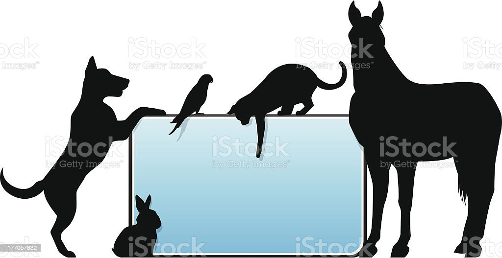 Template graphic for signage with silhouettes animals vector art illustration