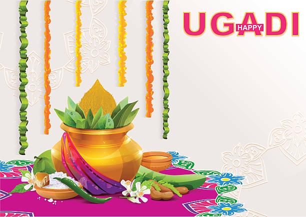 vorlage für grußkarte für den urlaub ugadi. gold topf mit kokosnuss - padua stock-grafiken, -clipart, -cartoons und -symbole