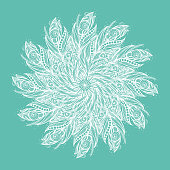 Template greeting card or invitation with circle of feathers.