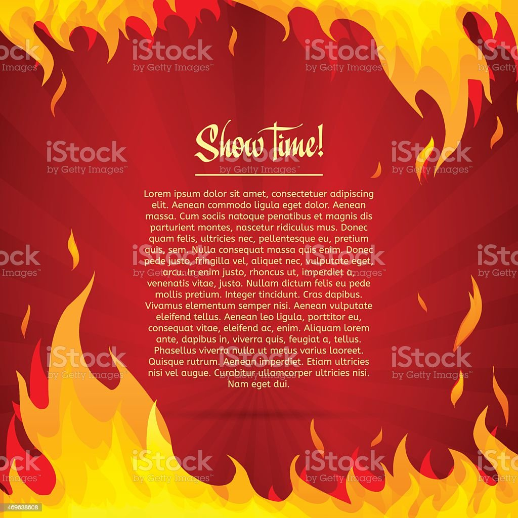 Template greeting card with red background. Frame of fire. vector art illustration