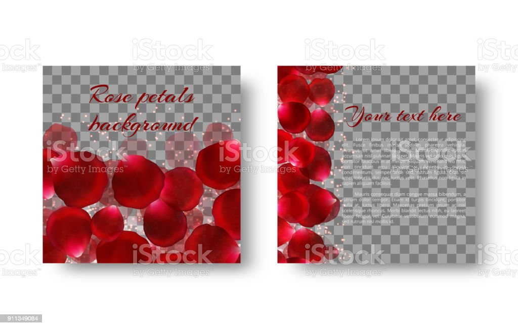 template greeting card with red rose petals stock vector art more