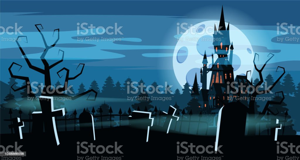 Template Halloween Holiday Graveyard Black Abandoned Castle Gloomy Autumn Forest Panorama Moon