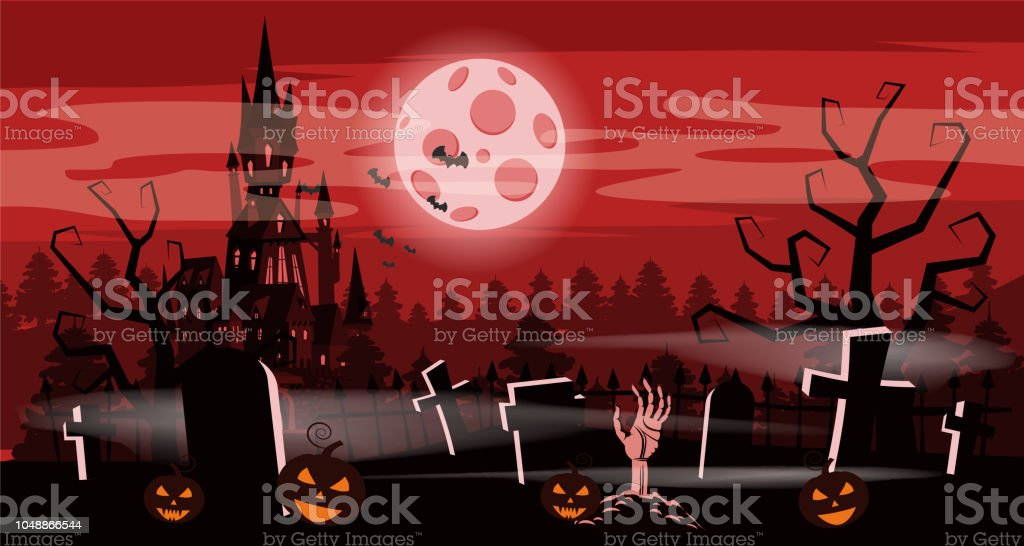 template halloween holiday pumpkin cemetery black abandoned castle gloomy autumn forest panorama