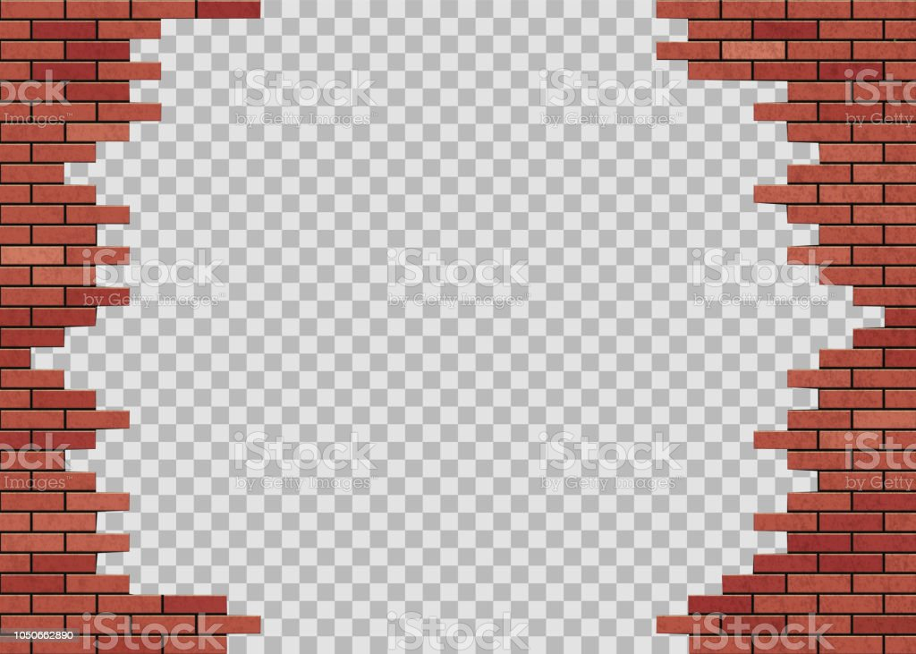 Template Hole In Red Brick Wall Isolated On A Transparent Background