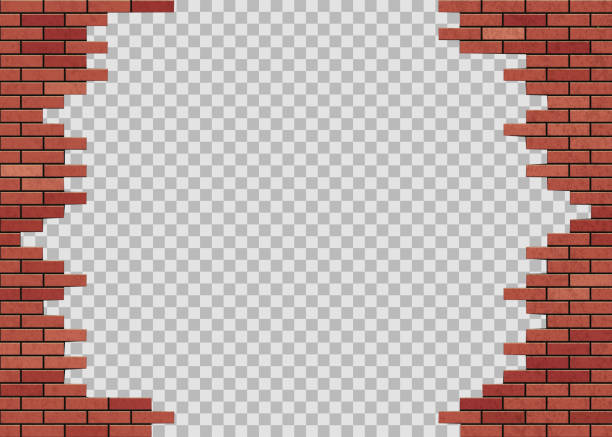 Template hole in red brick wall. Isolated on a transparent background. vector art illustration