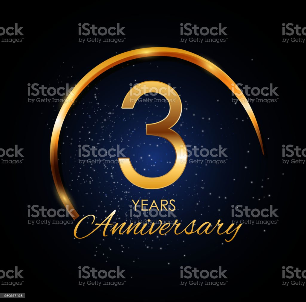 template icon 3 year anniversary vector illustration stock vector