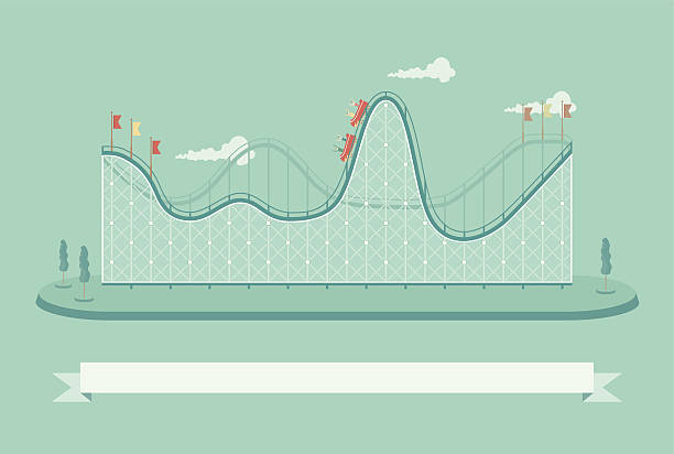 template if a roller coaster with people on it - roller coaster stock illustrations