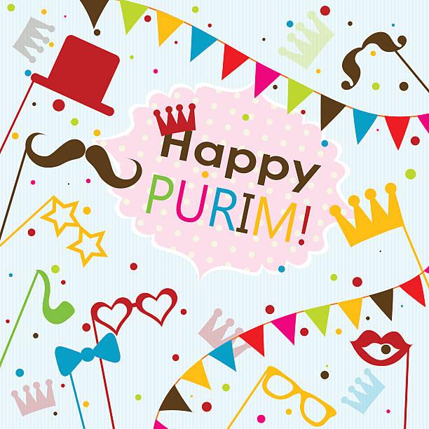 template jewish holiday purim greeting card, vector - purim stock illustrations, clip art, cartoons, & icons