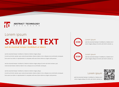 Template layout abstract technology triangles red color overlay header and footer on white background