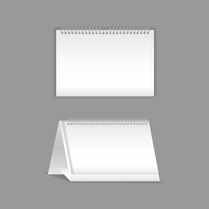 Template, layout, beautiful realistic notebook. Empty white flipchart with spring