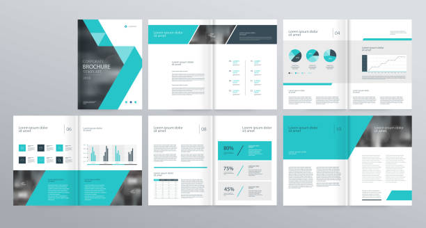 illustrazioni stock, clip art, cartoni animati e icone di tendenza di template layout design with cover page for company profile ,annual report , brochures, flyers, presentations, leaflet, magazine,book . - rapporto