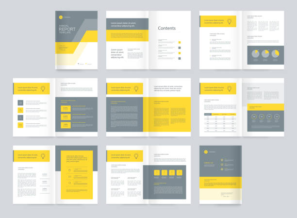 template layout design with cover page for company profile ,annual report , brochures,proposal , flyers, leaflet, magazine,book concept - annual reports templates stock illustrations