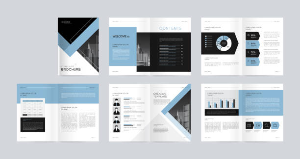 template layout design with cover page for company profile ,annual report , brochures, flyers,magazine, book . and vector a4 size for editable. - annual reports templates stock illustrations