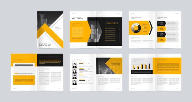 Schablonen-Layout mit Titelseite für Firmenprofil, Geschäftsbericht, Broschüren, Flyer, Präsentationen, Broschüren, Magazin, Buch. Und Vektor a4 Größe für editierbar. – Vektorgrafik