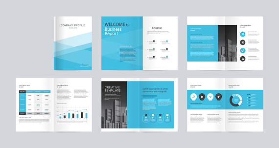 Template Layout Design With Cover Page For Company Profile Annual Report Brochures Flyers Presentations Leaflet Magazine Book And Vector A4 Size For Editable - Stockowe grafiki wektorowe i więcej obrazów Abstrakcja
