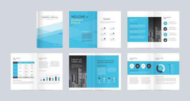 illustrazioni stock, clip art, cartoni animati e icone di tendenza di template layout design with cover page for company profile ,annual report , brochures, flyers, presentations, leaflet, magazine, book . and vector a4 size for editable. - rapporto