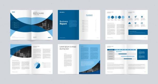 Template-Layout-Design mit Deckblatt für Firmenprofil, Jahresbericht, Broschüren, Flyer, Präsentationen, Faltblatt, Magazin, Buch. und Vektor a4-Größe für editierbar. – Vektorgrafik
