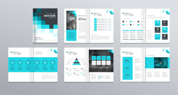 template layout design with cover page for company profile ,annual report , brochures, flyers, presentations, leaflet, magazine,book . and  vector a4 size for editable. - katalog stock illustrations