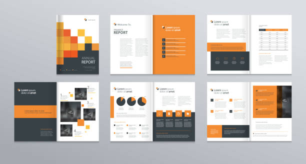 template layout design with cover page for company profile ,annual report , brochures, flyers, presentations, leaflet, magazine,book . and  vector a4 size for editable. - brochure templates stock illustrations, clip art, cartoons, & icons
