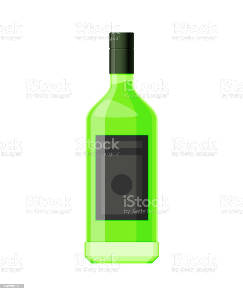 Template Layout Empty Glass Bottle Of Absinthe Alcohol Drink Stock ...